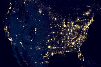 Night View of United States, Coverage Area for Wisconsin Process Serving Company