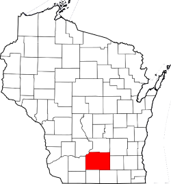 Map of Wisconsin with Dane County Highlighted