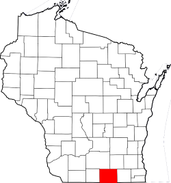 Map of Wisconsin Highlighting ROck County