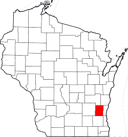 Map of WIsconsin Highlighting Washington County
