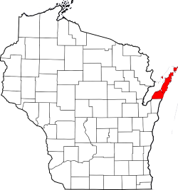Map of Wisconsin Highlighting Door County