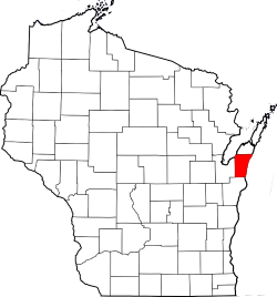 Map of Wisconsin Highlighting Kewaunee County