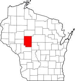 Clark County Wisconsin Highlighted on Wisconsin Process Server's Map