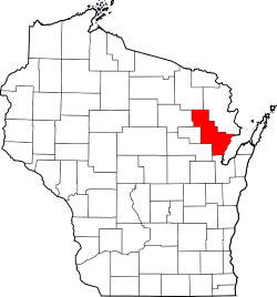 Oconto County on Wisconsin Map Highlighted