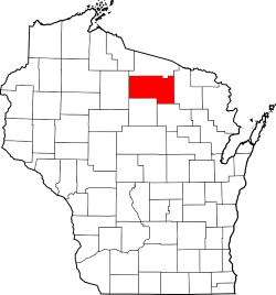 Oneida County Highlighted Red on Map of Wisconsin