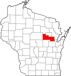Wisconsin Map with Shawano County Highlighted