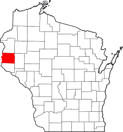 Map of Wisconsin with Saint Croix County Colored Red
